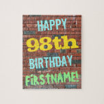 [ Thumbnail: Brick Wall Graffiti Inspired 98th Birthday + Name Jigsaw Puzzle ]