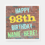 [ Thumbnail: Brick Wall Graffiti Inspired 98th Birthday + Name Paper Napkin ]