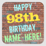[ Thumbnail: Brick Wall Graffiti Inspired 98th Birthday + Name Sticker ]