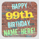 [ Thumbnail: Brick Wall Graffiti Inspired 99th Birthday + Name Sticker ]