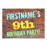 [ Thumbnail: Brick Wall Graffiti Inspired 9th Birthday + Name Invitation ]