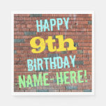 [ Thumbnail: Brick Wall Graffiti Inspired 9th Birthday + Name Paper Napkin ]