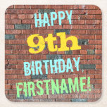 [ Thumbnail: Brick Wall Graffiti Inspired 9th Birthday + Name Paper Coaster ]