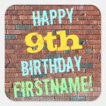 [ Thumbnail: Brick Wall Graffiti Inspired 9th Birthday + Name Sticker ]