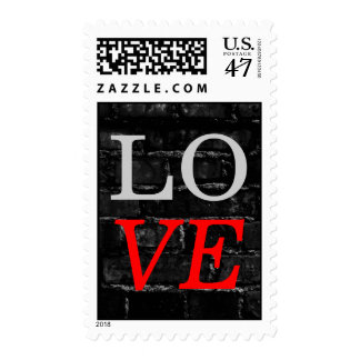 Brick Wall Grey Red Love Wedding Stamp