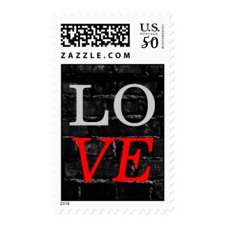 Brick Wall Grey Red Love Wedding Stamp
