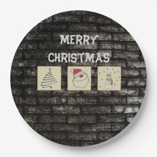 Brick wall grundge fun Christmas patchwork Paper Plate