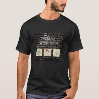 Brick wall grundge fun Christmas patchwork T-Shirt
