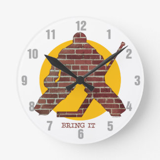 Brick Wall Hockey Goalie Round Clock