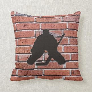 Brick Wall Hockey Goalie Silhouette Throw Pillow