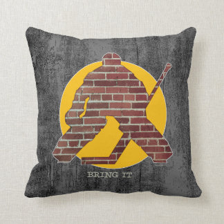 Brick Wall Hockey Goalie Throw Pillow