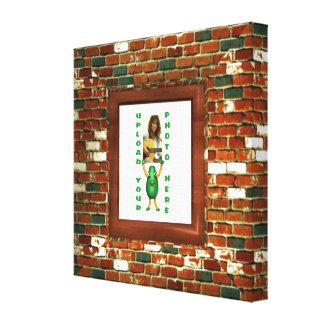 Brick wall illusion photo border wrapped canvas canvas prints