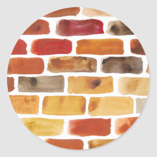Brick wall in brown shades, watercolor painting classic round sticker
