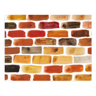 Brick wall in brown shades, watercolor painting postcard