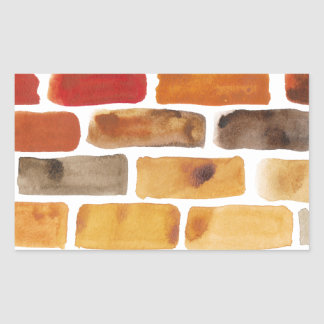 Brick wall in brown shades, watercolor painting rectangular sticker