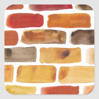 Brick wall in brown shades, watercolor painting square sticker