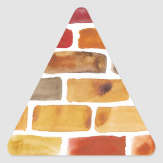 Brick wall in brown shades, watercolor painting triangle sticker