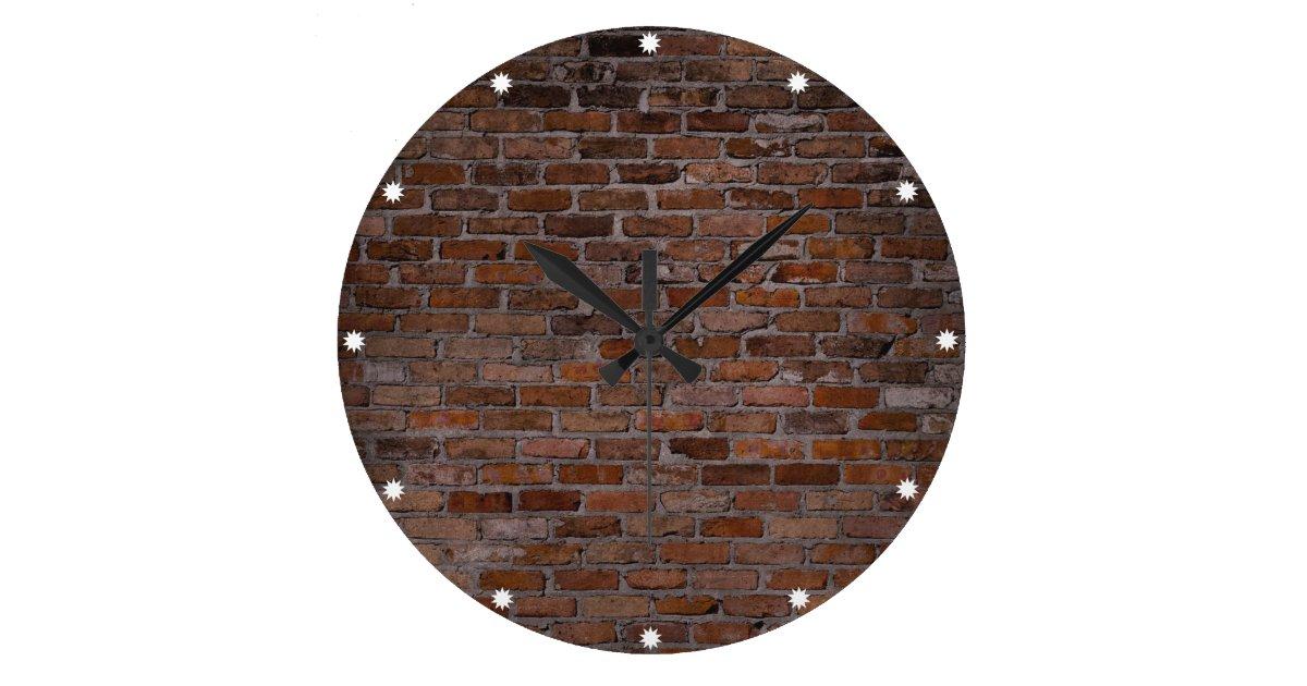 Brick Wall Large Clock Zazzle Com