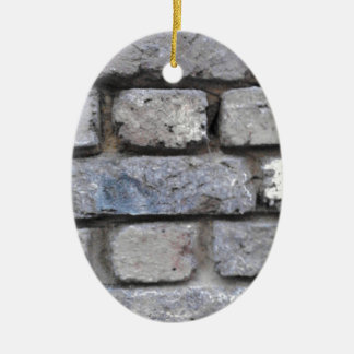 Brick wall Double-Sided oval ceramic christmas ornament