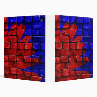 Brick Wall Painted Blue Red Pattern Gifts 3 Ring Binder