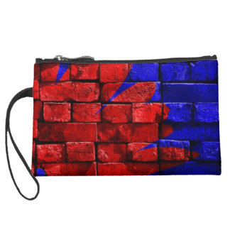 Brick Wall Painted Blue Red Pattern Gifts Wristlet