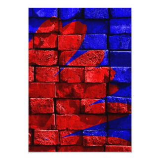 Brick Wall Painted Blue Red Pattern Gifts 5x7 Paper Invitation Card