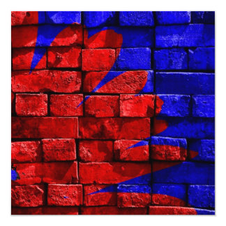 Brick Wall Painted Blue Red Pattern Gifts 5.25x5.25 Square Paper Invitation Card