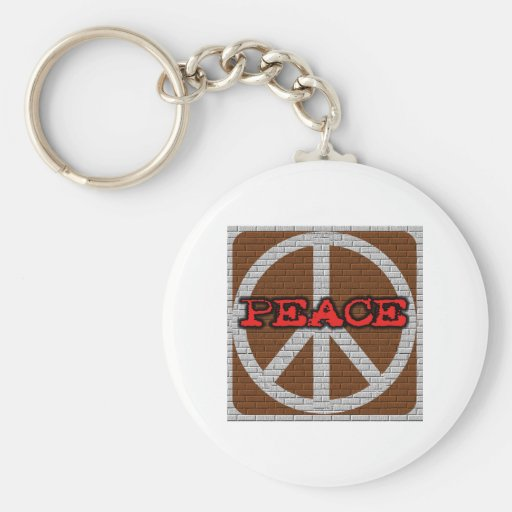 Brick Wall Peace Basic Round Button Keychain
