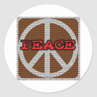 Brick Wall Peace Classic Round Sticker