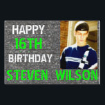 """Brick Wall Personalize Photo Yard Sign<br><div class=""""desc"""">This ultra cool Happy Birthday yard sign will be a great keepsake! The background is slate grey colored brick wall with Happy 16th Birthday along with a photo of your choice and name. Full color printing on both sides! Easily change the text, font, and color of the text to suit...</div>"""