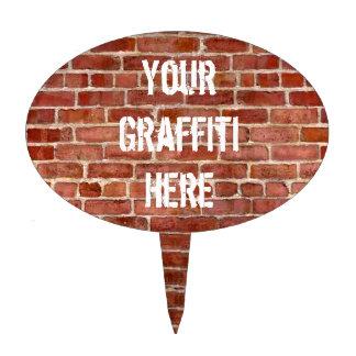 Brick Wall Personalized Graffiti Cake Pick