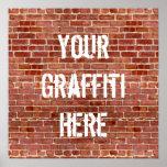 Brick Wall Personalized Graffiti Custom Poster