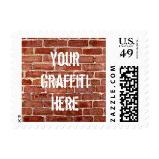 Brick Wall Personalized Graffiti Postage Stamps