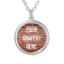 Brick Wall Personalized Graffiti Silver Plated Necklace
