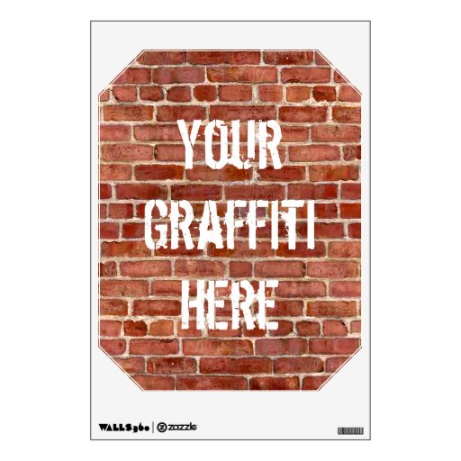 Brick wall personalized graffiti wall decal zazzle for Brick wall mural decal