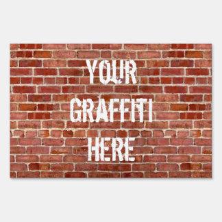 Brick Wall Personalized Graffiti Yard Sign