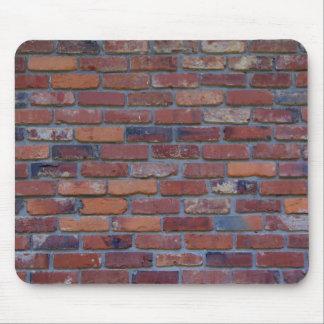Brick wall - red mixed bricks and mortar mouse pad
