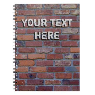 Brick wall - red mixed bricks and mortar notebook