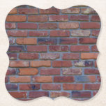 """Brick wall - red mixed bricks and mortar paper coaster<br><div class=""""desc"""">Photo of a brick wall built with various colors,  shades,  and textures of 1960s made bricks. The colors include black,  orange,  red,  gray,  and more.</div>"""