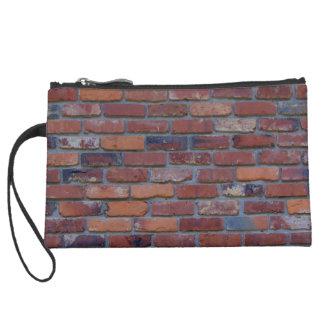 Brick wall - red mixed bricks and mortar suede wristlet wallet