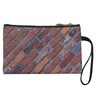 Brick wall - red mixed bricks and mortar wristlet wallet