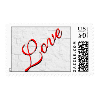Brick Wall Red Script Love Wedding Postage