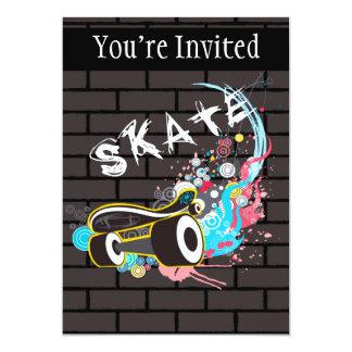 Brick Wall Skate Graffiti Logo With Board 5x7 Paper Invitation Card