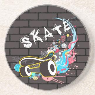 Brick Wall Skate Graffiti Logo With Board Drink Coaster