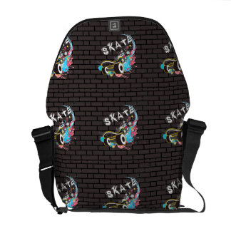 Brick Wall Skate Graffiti Logo With Board Messenger Bag