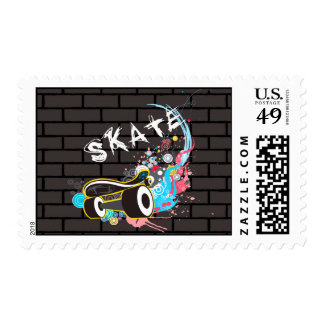 Brick Wall Skate Graffiti Logo With Board Postage