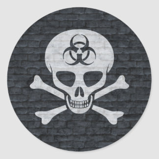 Brick Wall Skull and Crossbones Sticker