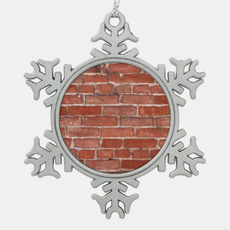 Brick Wall Snowflake Pewter Christmas Ornament