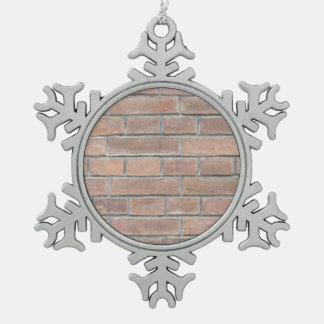 Brick wall texture pewter snowflake ornament