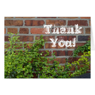 Brick wall thank you note card